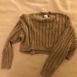 Ultra Cropped Cable Knit Sweater